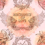 Seamless pattern of wings, heart and clockwork in steampunk styl. E Royalty Free Stock Photo