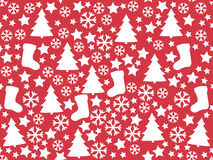 Seamless pattern. Winter background. Christmas. Christmas tree, snowflakes sock star. Stock Photo