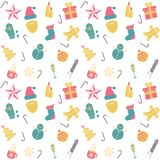 Seamless pattern with winter and Christmas symbols Royalty Free Stock Photo