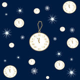 Seamless pattern of winter clock books and snow Royalty Free Stock Photography