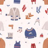 Seamless pattern with winter clothes and outerwear on light background. Backdrop with warm seasonal clothing or apparel. Cartoon vector illustration for vector illustration