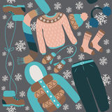 Seamless pattern with winter clothing. Warm woollies. Clothes for cold weather Stock Image