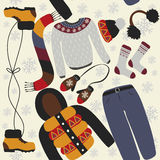 Seamless pattern with winter clothing. Warm woollies. Clothes for cold weather Royalty Free Stock Photography