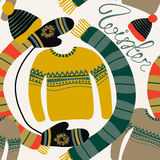 Seamless pattern with winter clothing. Warm woollies. Clothes for cold weather. Mittens,hats, scarf, sweaters Stock Photography