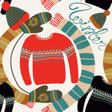 Seamless pattern with winter clothing. Warm woollies. Clothes for cold weather. Mittens,hats, scarf, sweaters. With ornament. Repeating background. Vector Stock Photo