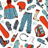 Seamless pattern of winter extreme sport. Stock Photos
