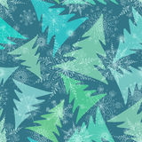 Seamless pattern of winter fir trees royalty free illustration