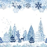 Seamless pattern with winter forest. Beautiful seamless blue pattern with winter forest Stock Photos