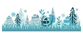 Seamless pattern with winter forest. Beautiful seamless blue pattern with winter forest Royalty Free Stock Photo