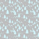 Seamless pattern of winter forest landscape with mountains, Christmas trees and running snow. Ideal for gift paper, background, royalty free illustration
