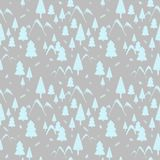 Seamless pattern winter forest landscape with mountains, fir trees and fir cones. Ideal for gift paper, background, greeting cards royalty free illustration