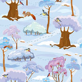 Seamless pattern - Winter Forest Landscape with trees. Birds and squirrels. Ready to use as swatch Royalty Free Stock Photos