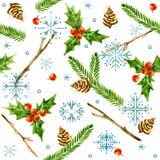 Seamless pattern with winter forest and snowflake. Watercolor winter forest background. Christmas tree pattern. Stock Image