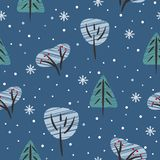 Seamless pattern with winter forest. Trees and bushes under the snow stock illustration