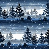 Seamless pattern with winter forest. Watercolor landscape Royalty Free Stock Photo