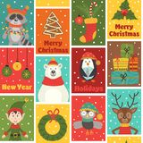 Seamless pattern with winter holiday characters and decorations Stock Images