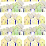 seamless pattern with winter houses drawn with colored pencils stock photo