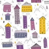 Seamless pattern with winter houses and mountains. Vector winter seamless pattern with colorful houses and mountains, walking man and dog. Can be printed and Royalty Free Stock Photos