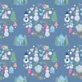 seamless pattern with winter houses and snowmen with colored pencils royalty free illustration