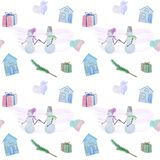 seamless pattern with winter houses and snowmen with colored pencils stock illustration