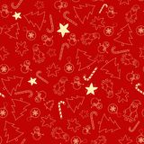 Seamless pattern with winter items. Seamless pattern with winter icons on red background. The pattern is in the swatches. Vector art Royalty Free Stock Photo