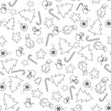 Seamless pattern with winter items. On transparent background. The pattern is in the swatches. Vector art Stock Images