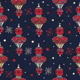 Set of Christmas-tree decorations for Christmas fabrics and decor. Merry Christmas and Happy New Year. stock illustration