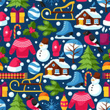 Seamless pattern with winter objects. Merry Christmas, Happy New Year holiday items and symbols Stock Photos