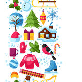 Seamless pattern with winter objects. Merry Christmas, Happy New Year holiday items and symbols Royalty Free Stock Photos