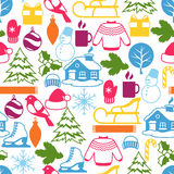 Seamless pattern with winter objects. Merry Christmas, Happy New Year holiday items and symbols Royalty Free Stock Photo