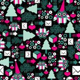 Seamless pattern with winter owl. Stock Images