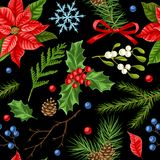 Seamless pattern with winter plants. Merry Christmas holiday decoration. Forest branches background in vintage style Royalty Free Illustration