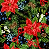 Seamless pattern with winter plants. Merry Christmas holiday decoration. Forest branches background in vintage style Stock Illustration