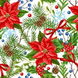 Seamless pattern with winter plants. Merry Christmas holiday decoration. Forest branches background in vintage style Vector Illustration