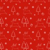 Seamless pattern of winter season,Christmas design on red background,for holiday,celebration party,new year Royalty Free Stock Photo