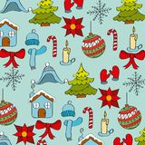 Seamless pattern winter season icons decoration Royalty Free Stock Images