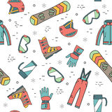Seamless pattern of winter sport. Royalty Free Stock Photos