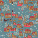 Seamless pattern winter town Stock Images