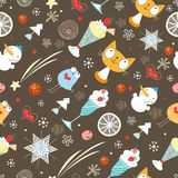 Seamless Pattern Winter Toys Stock Photos