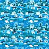 Seamless pattern with winter village. Illustration - seamless pattern with winter village Royalty Free Stock Image