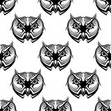 Seamless pattern of wise old owls Stock Photo