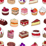 Seamless pattern wit different kinds of dessert. Royalty Free Stock Photography