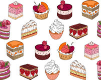 Seamless pattern wit different kinds of dessert. Stock Image