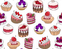 Seamless pattern wit different kinds of dessert. Royalty Free Stock Photos