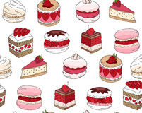 Seamless pattern wit different kinds of dessert. Stock Photography