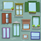 Seamless pattern wit different style windows drawing on building. Different colored and style windows drawing on building with open shutter. Seamless pattern for Stock Photos