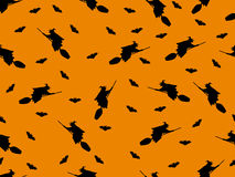 Seamless pattern with a witch on a broom and bats for Halloween. Vector illustration Royalty Free Stock Photo
