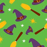 Seamless pattern witch. Theme contains witch hat, stars and broom stock illustration