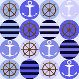 Seamless Pattern With Anchors Royalty Free Stock Photos