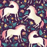 Seamless Pattern With Beautiful Unicorns. Vector Magic Background For Kids Design. Royalty Free Stock Image